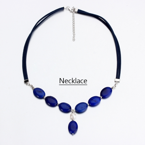 Renfook 925 sterling silver lapis lazuli and pearl women necklace