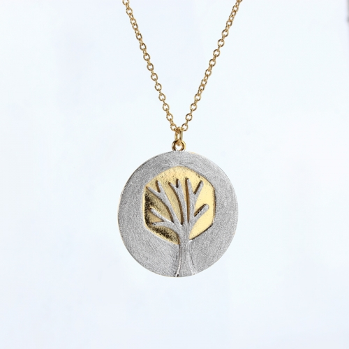 Renfook 925 sterling silver two tone plated life tree necklaces