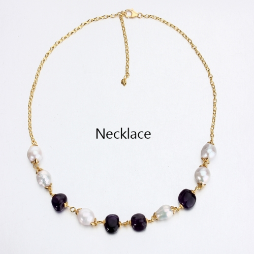 Renfook 925 sterling silver freshwater pearl and amethyst necklace