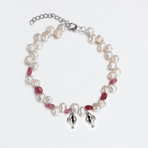 Renfook 925 sterling silver pearl and tourmaline flower charm bracelet for women