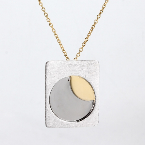 Renfook 925 sterling silver two tone plated moon engraved necklaces