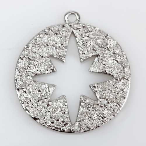 Renfook Sterling silver hammer surface North Star charm