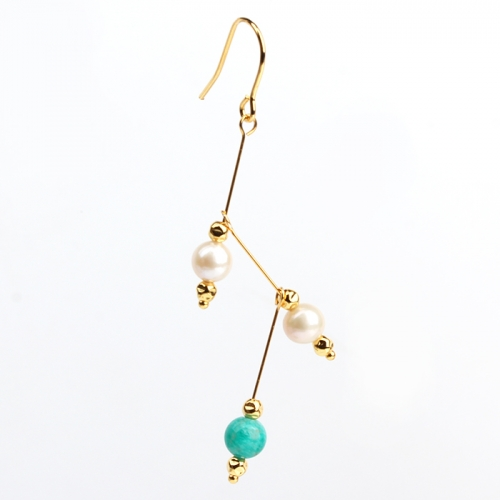 Renfook 925 sterling silver pearl and gemstone earring twig concept