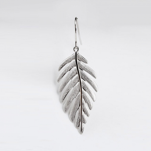 Renfook 925 sterling silver leaf hook earings -shiny and brushed surface