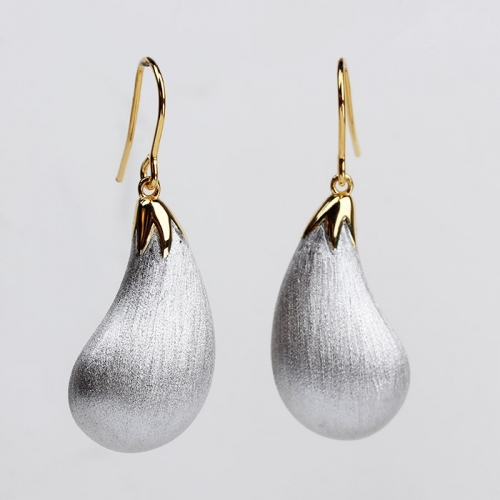 Renfook 925 sterling silver brushed eggplant hook earrings