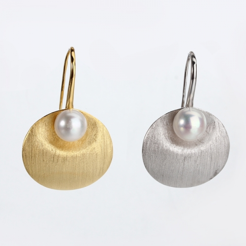 Renfook 925 sterling silver freshwater pearl brushed surface earrings
