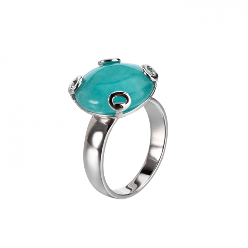 Renfook 925 sterling silver amazonite ring for women