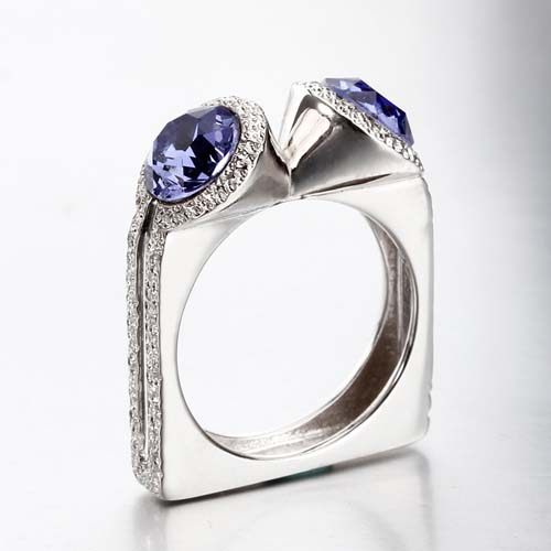 Renfook 925 sterling silver ring with crystal for women