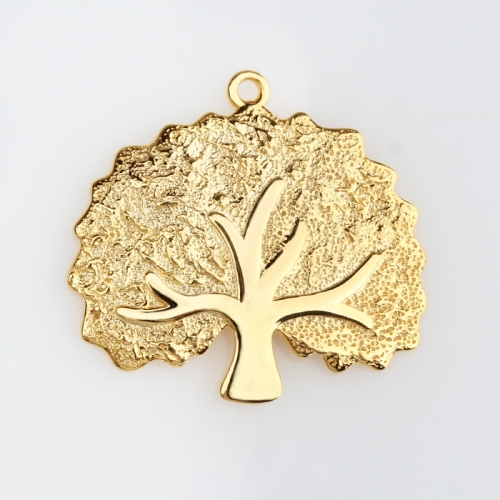 Renfook Sterling silver 925 hammer surface tree of life charm