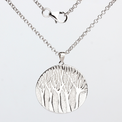 Renfook 925 sterling silver hammered tree of life necklace pendant