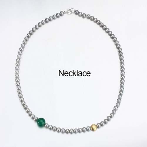 Renfook 925 sterling silver grey pearl and green chalcedony necklace jewelry