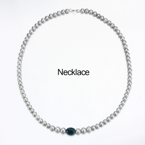 Renfook 925 sterling silver grey pearl and apatite necklace jewelry