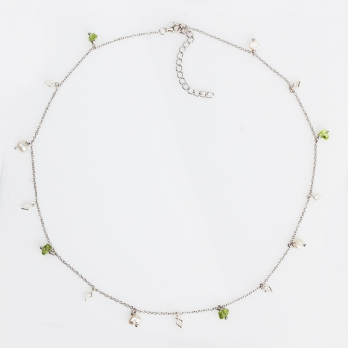 Renfook 925 sterling silver pearl olivine tiny necklace