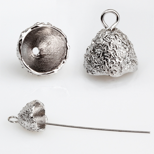 Renfook 925 sterling silver unique hammer surface DIY pearl cup