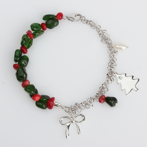 Renfook 925 sterling silver gemstone christmas bracelet for women