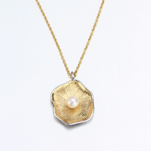 Renfook 925 sterling silver freshwater pearl two tone gold plated flower necklace