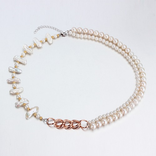 Renfook 925 sterling silver baroque pearl necklace for women