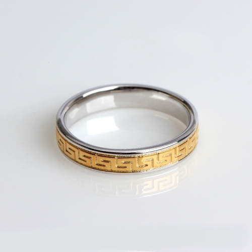 Renfook 925 sterling silver two-tone gold plated ring jewelry with pattern