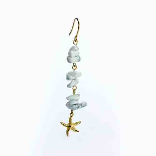 Renfook 925 sterling silver white turquoise starfish hook earring for women