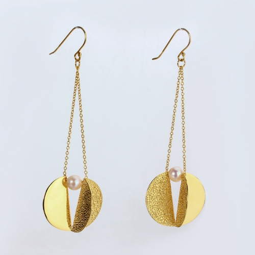 Renfook 925 sterling silver chic unique gold plated earrings
