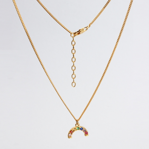 Renfook 925 sterling silver rainbow gold plated color necklace