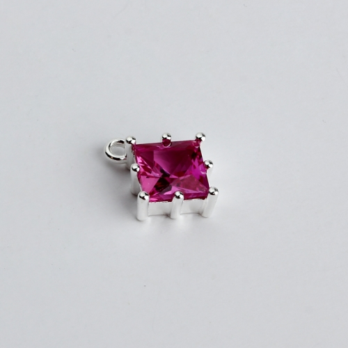 Renfook Sterling silver square cubic zirconia Diy jewelry charm