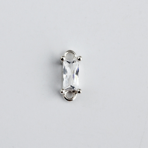 925 Sterling silver square cubic zirconia connector jewelry findings