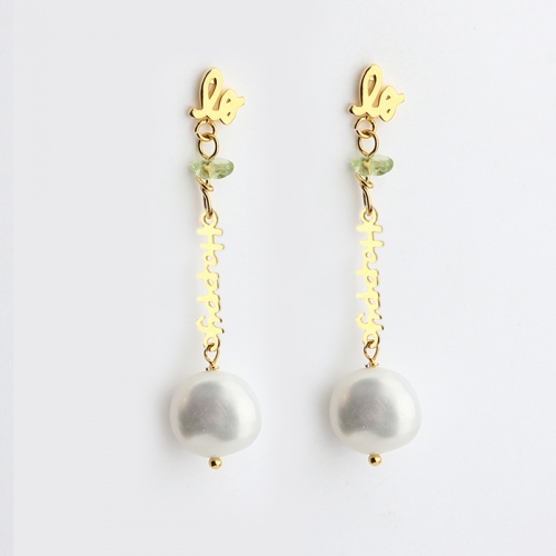 925 sterling silver happy connetor baroque pearl dangle earring stud