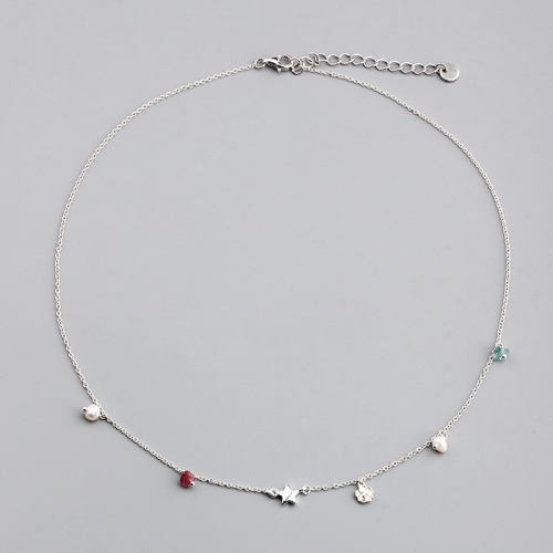 925 sterling silver gemstone and pearl star charm necklace