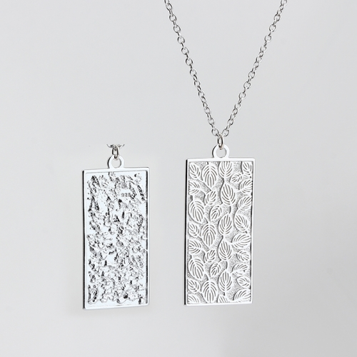 925 sterling silver leaf& hammered effect two surface-use pendant necklace