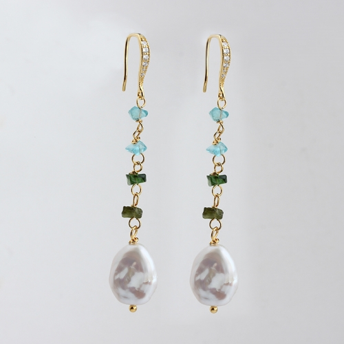 925 sterling silver gemstone and baroque pearl earring hook