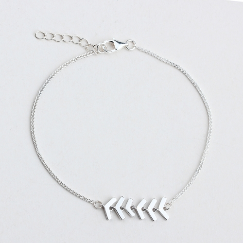 925 sterling silver fishbone connector foxtail chain bracelet