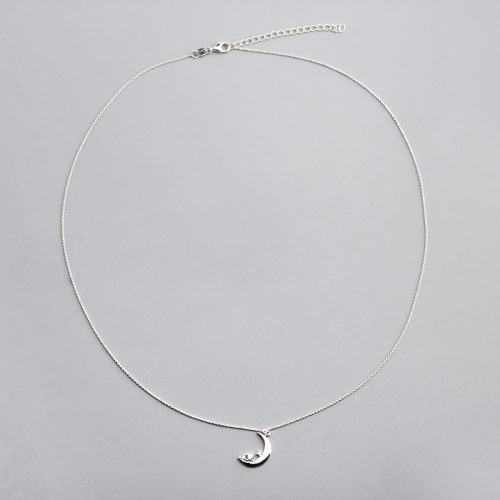 925 sterling silver moon charm trendy jewellery necklace