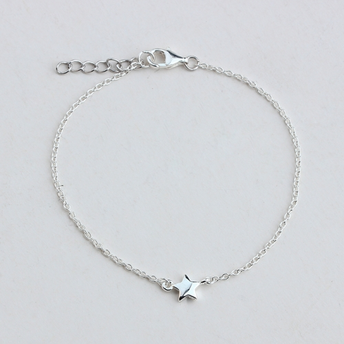 925 sterling silver cable chain star bracelet